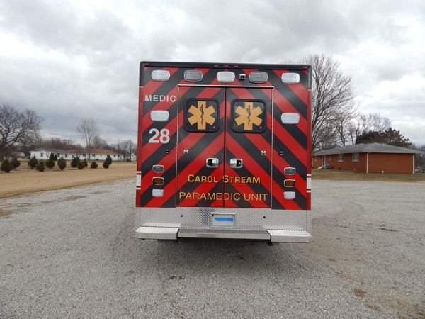 chevron striping on rear of ambulance black and red