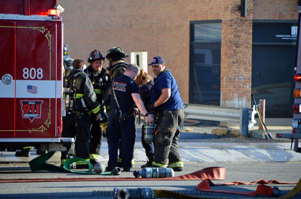 Firefighters after battling a fire