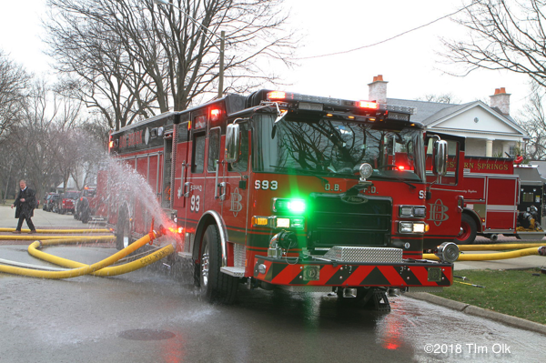 Oak Brook FD engine at fire scene