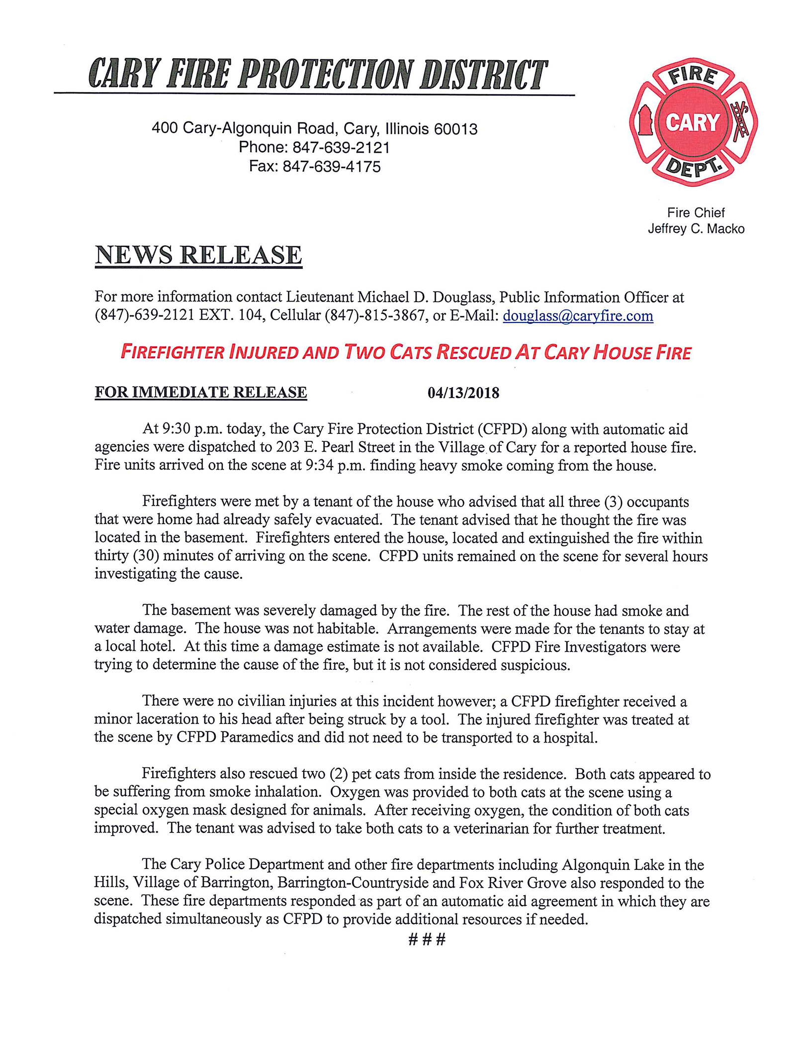 Cary Fire Protection District press release
