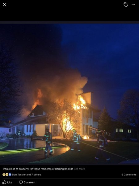large house in Barrington Hills engulfed by flames