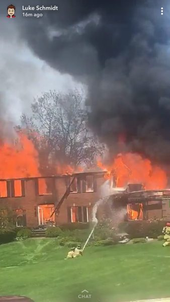 Photo from Facebook of a 2-Alarm fire at 40096 N. Goldenrod Lane in Wadsworth, the Newport Township FPD 5/24/18