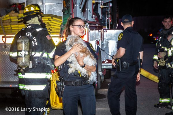 female police officer with dog rescued from fire