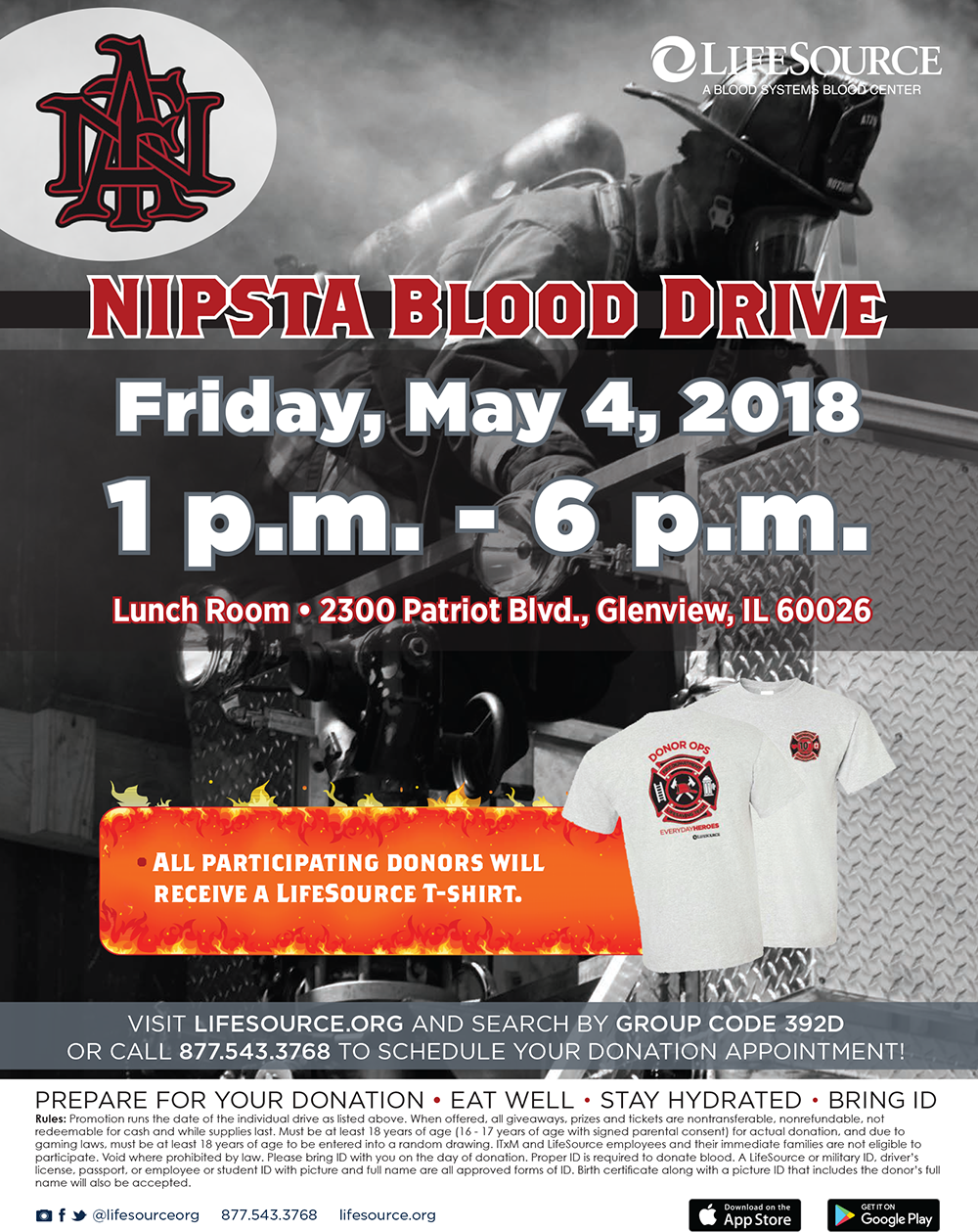 NIPSTA fire academy blood drive