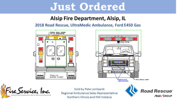 Drawing of new Road Rescue Type III ambulance for the Alsip FD.