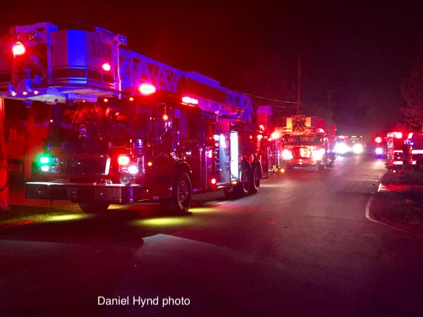 fire trucks at night