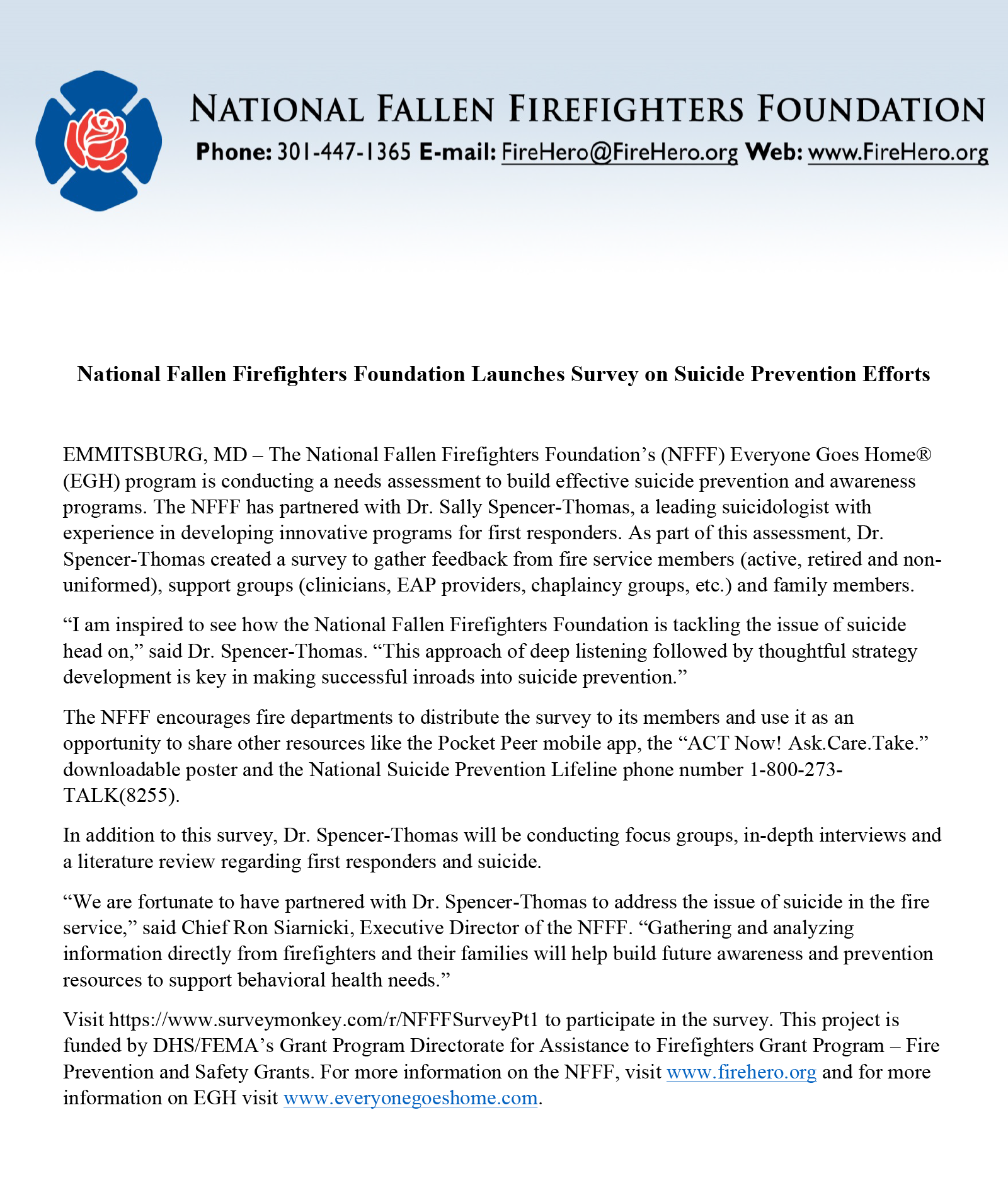 National Fallen Firefighters Foundation Launches Survey on Suicide Prevention Efforts