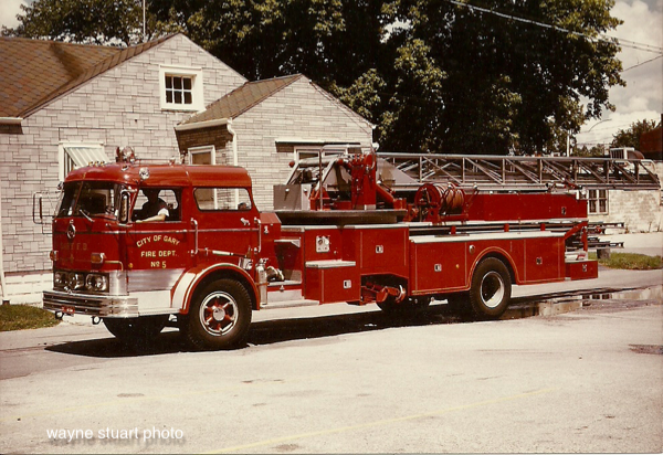 The Gary Fire Department operated this 1968 Mack C85FAD model aerial. It carried serial #1429 had a 100' Maxim ladder and a 200 gallon booster tank. It ran as TRUCK Co. 5 originally and then as TRUCK Co's 2 and 8.  wayne stuart photo
