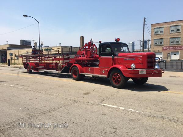 antique Chicago FWD tractor-drawn aerial ladder truck