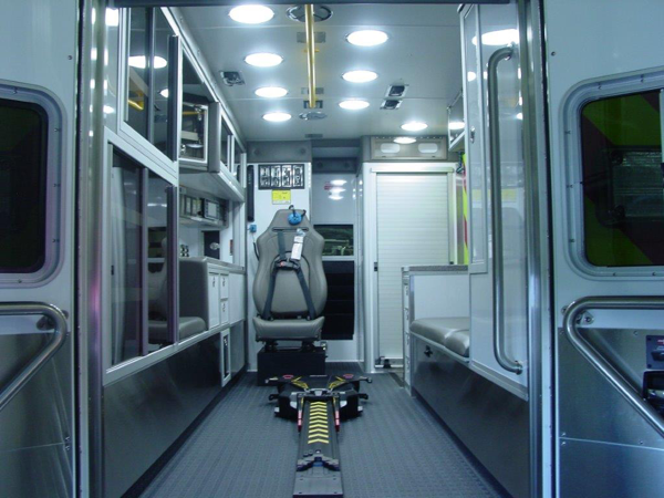 new ambulance interior with power cot