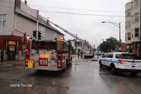 Chicago fire trucks at fire scene
