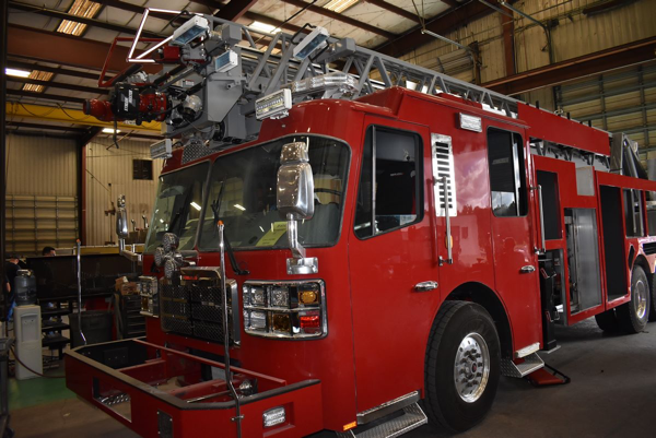 Ferrara fire truck being built H-6143