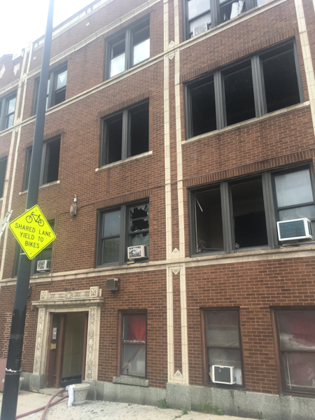 aftermath of apartment building fire in Chicago
