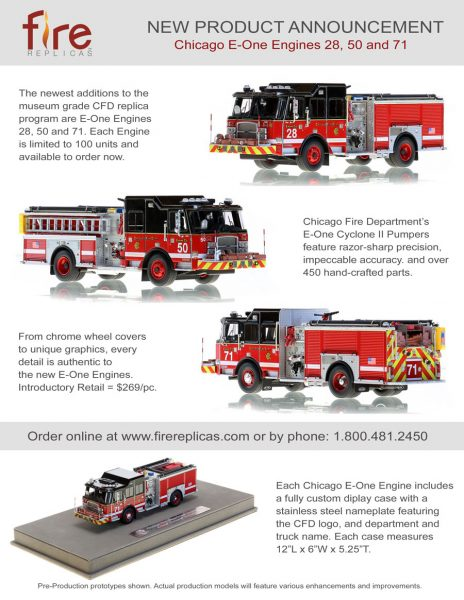 Fire Replicas Chicago FD E-ONE fire engines