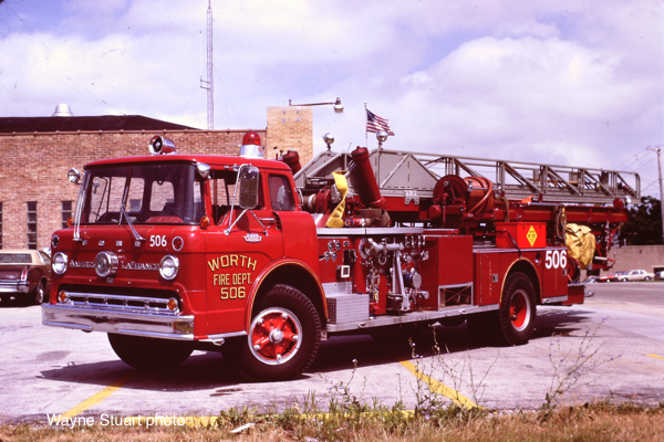 Worth FD history Ford American LaFrance aerial ladder truck