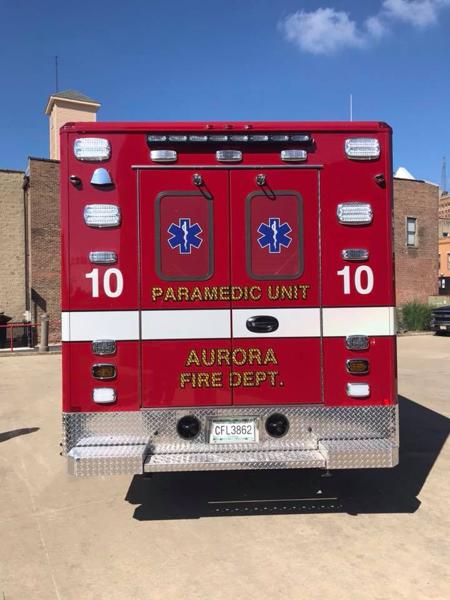 rear of new ambulance without chevron striping