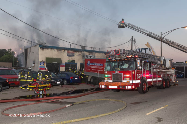 auto bodyshop fire in Chicago