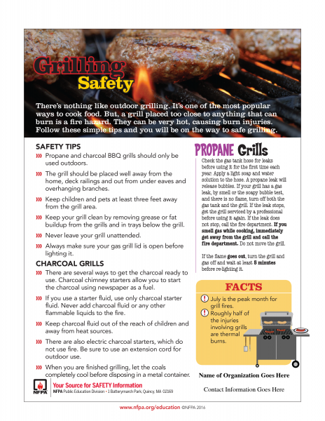 NFPA grilling safety tips
