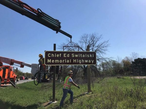 Highway sign installed for the Chief Ed Switalski Memorial Highway in Michigan