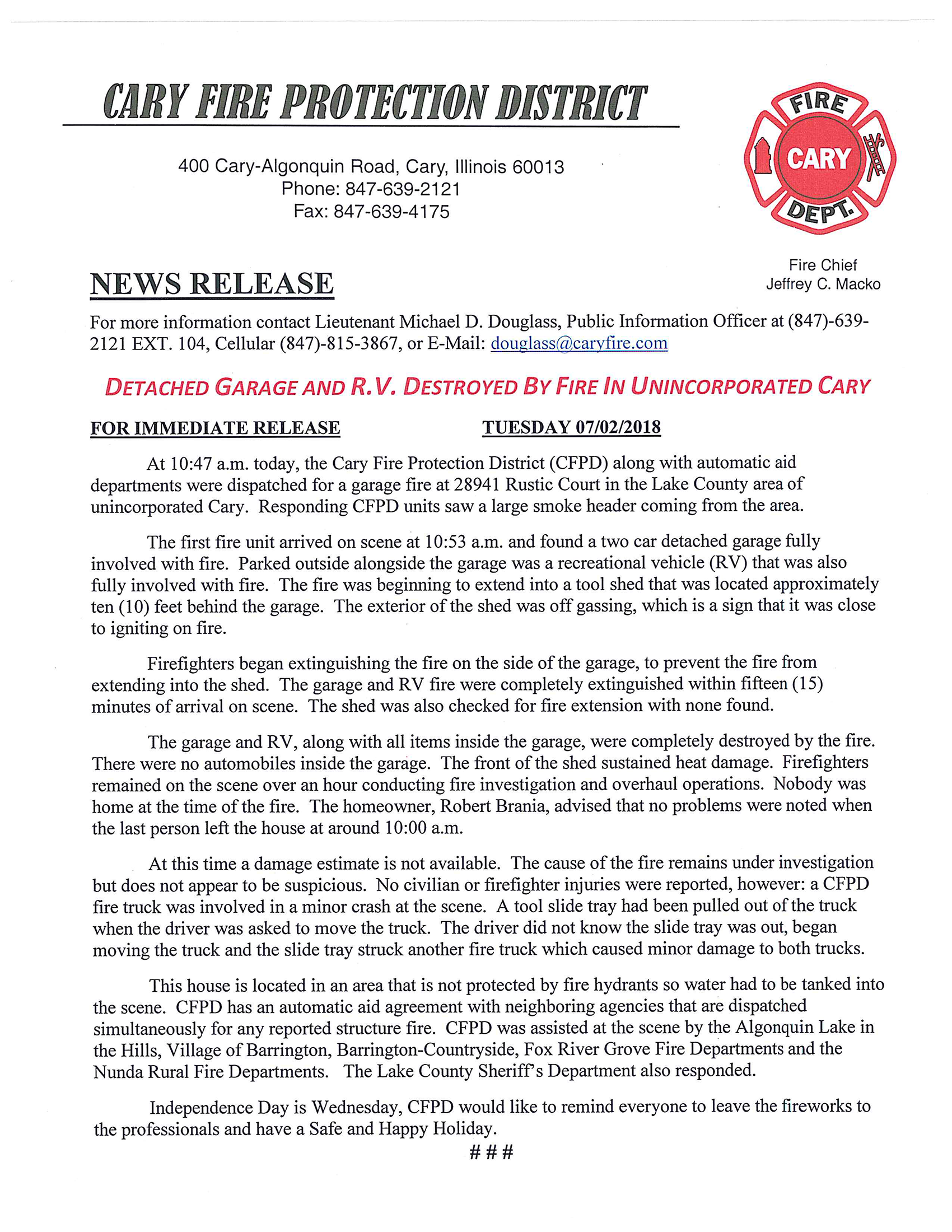 Cary FPD Incident-18-1055