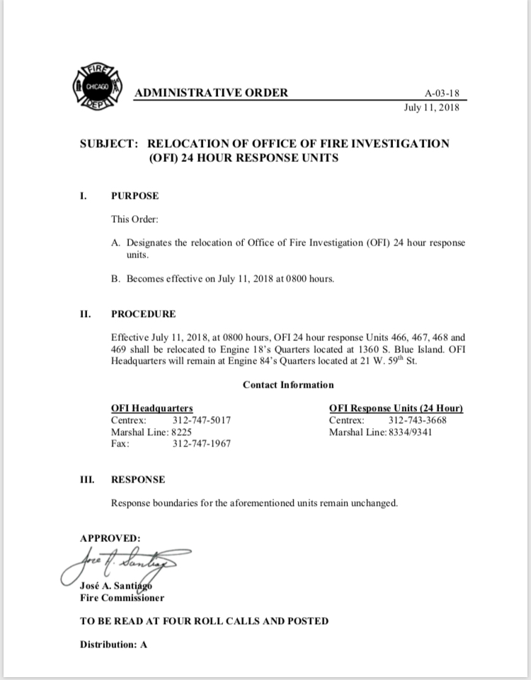 CFD Administrative Order A-03-18