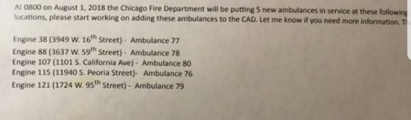 New CFD ambulance assignments