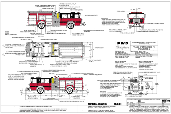 drawing for Seagrave fire engine