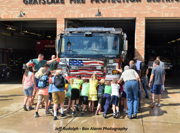 wetdown for new Grayslake FPD fire engine
