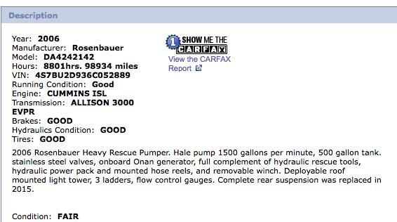 2006 Spartan/Rosenbauer fire engine for sale