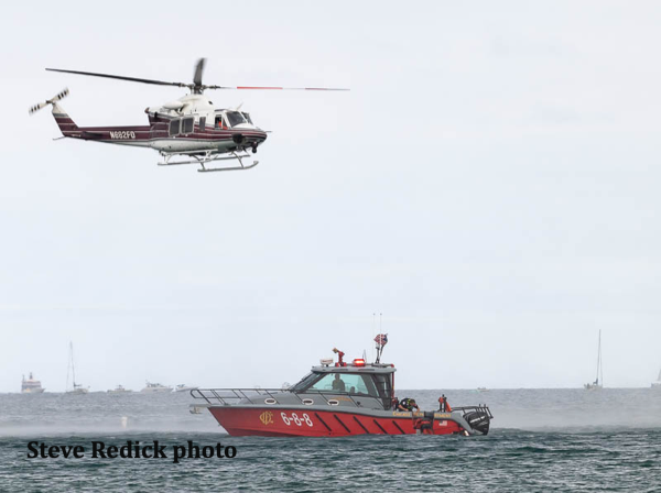 Chicago Fire Department helicopter and fire boat