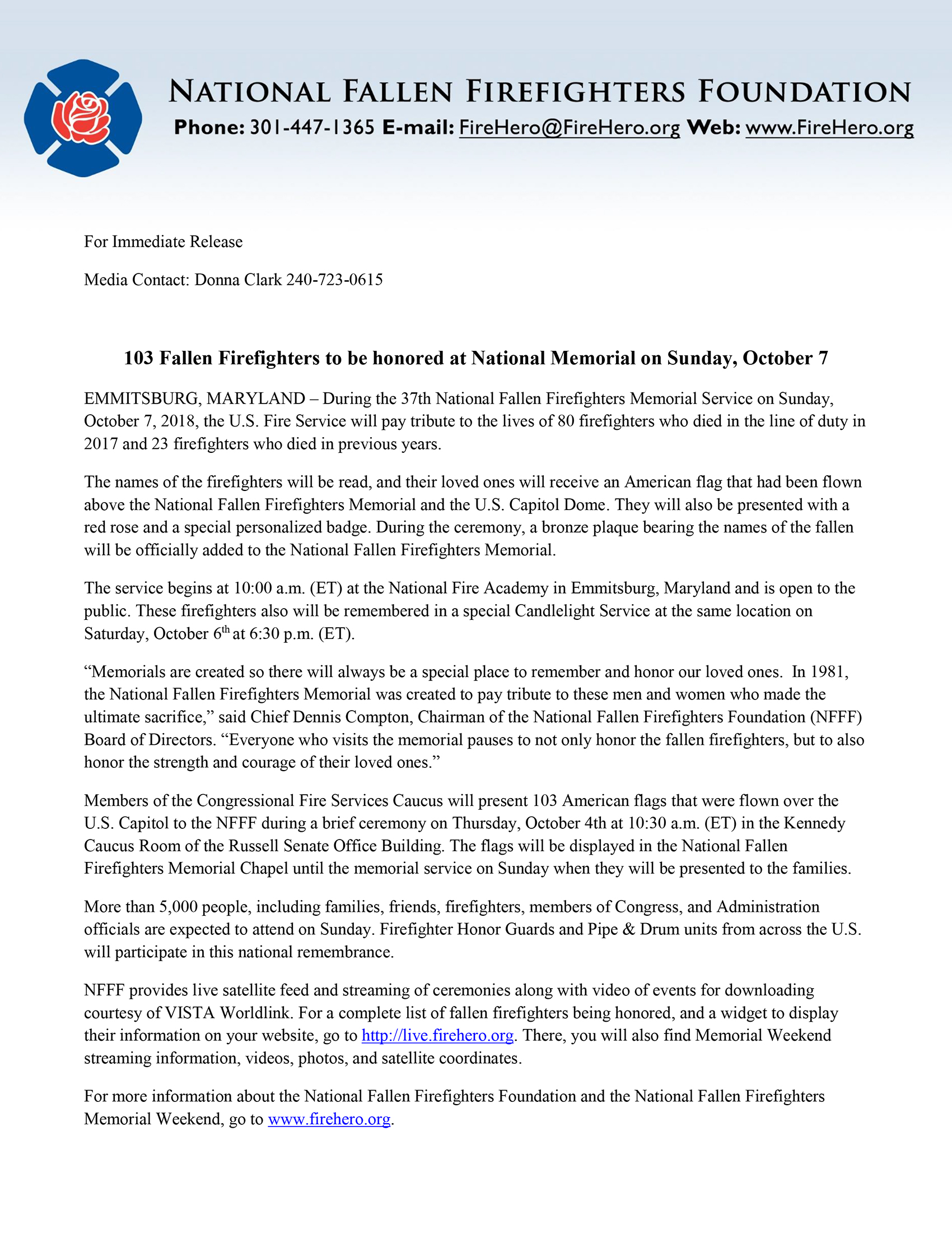 103 Fallen Firefighters to be honored at National Memorial on Sunday, October 7