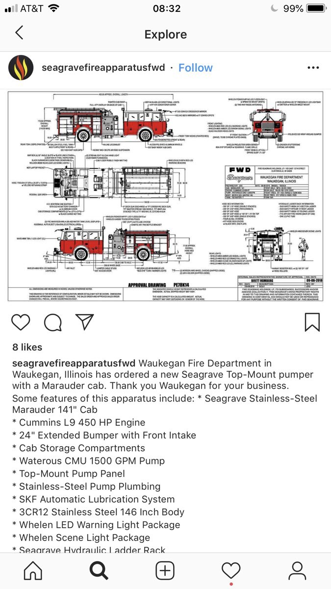 drawing of new Seagrave Marauder II fire engine for Waukegan IL