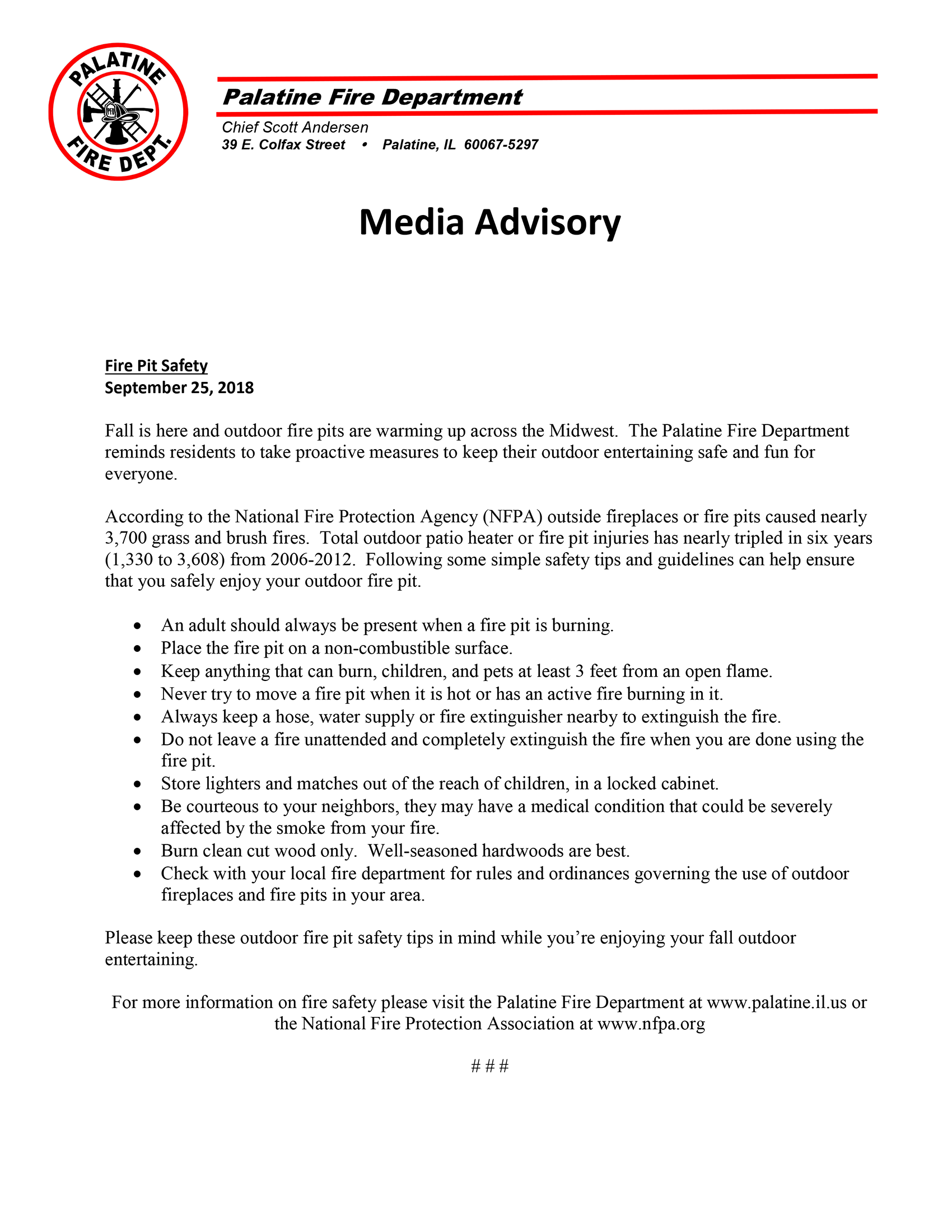 press release urging fire pit safety