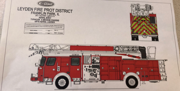 Drawing of an E-ONE HP78 quint for the Leyden Township FPD