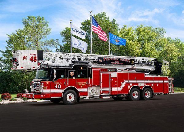 New Pierce velocity tower ladder for the Tinley Park FD so 31880