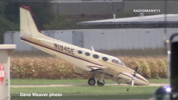 Cessna 340 twin-engine aircraft with a nose gear failure