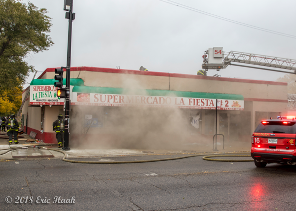 heavy smoke from grocery store fire