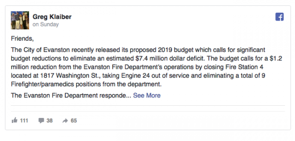 Facebook post from Greg Klaiber about closing of Evanston fire station