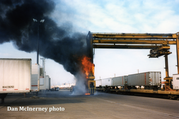 intermodal yard crane fire