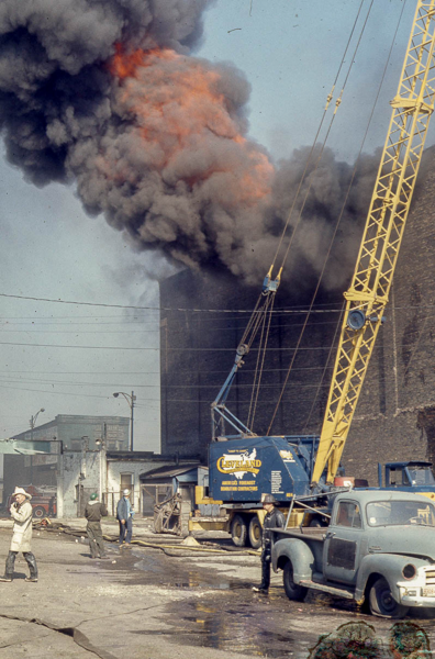vintage fire scene in Chicago at the Icehouse, 65th and State street 5-10-71