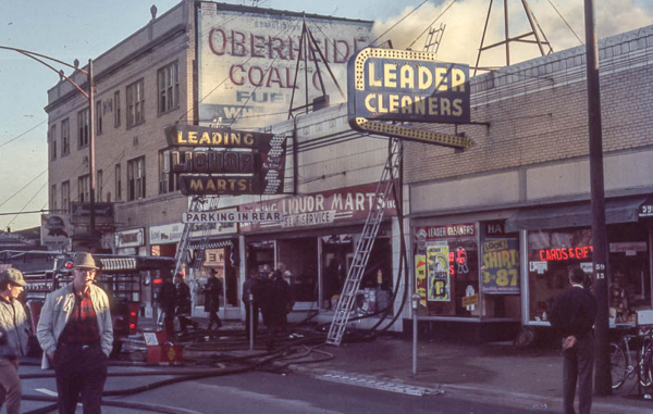 vintage Chicago fire scene photo from a Liquor store fire October 1970