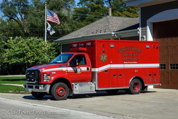 Western Springs FD Ambulance 1714 - 2018 Ford F650 Lifeline Type 1