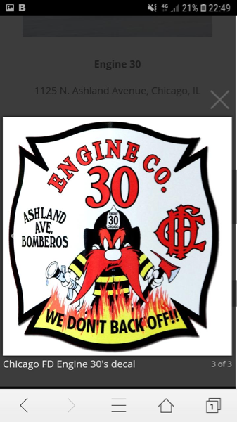 Chicago FD Engine 30 company decal