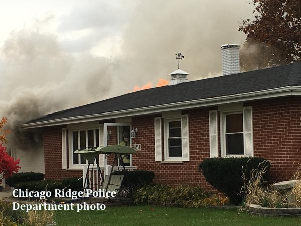 house fire scene in Chicago Ridge IL