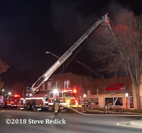 Oak Park FD tower ladder at work