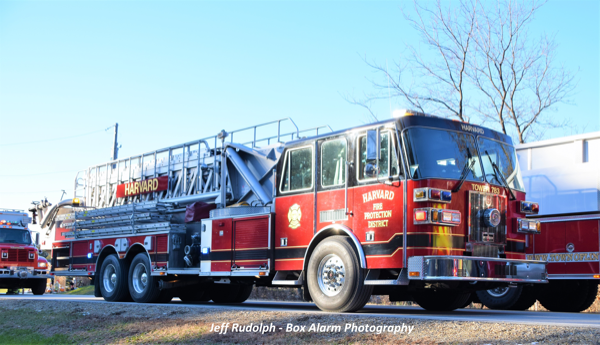Harvard FD Sutphen tower ladder