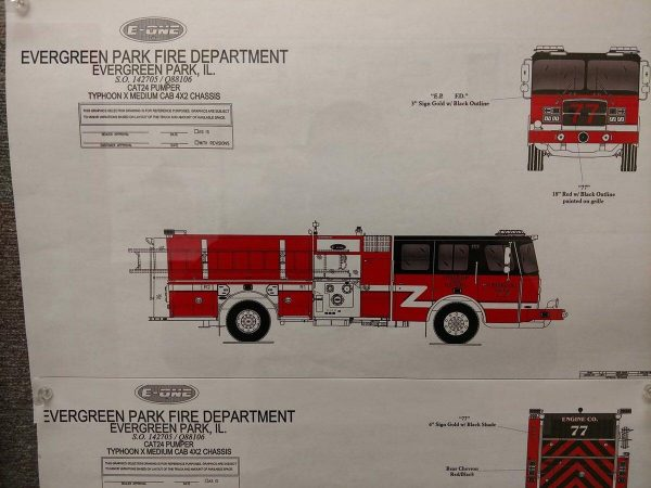 drawing of new fire engine for the Evergreen Park Fire Department