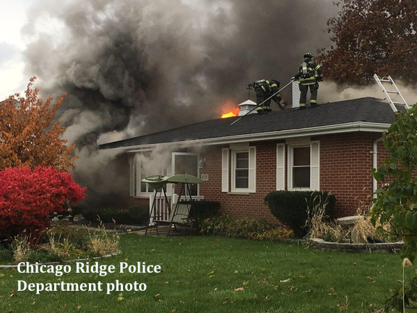 house fire scene in Chicago Ridge IL