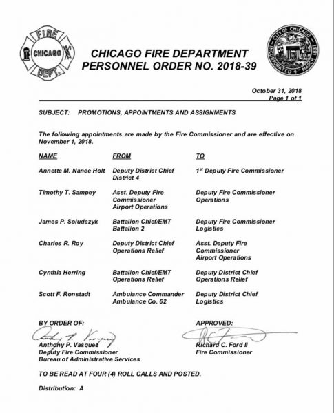 Chicago FD Personnel Order 2018-39