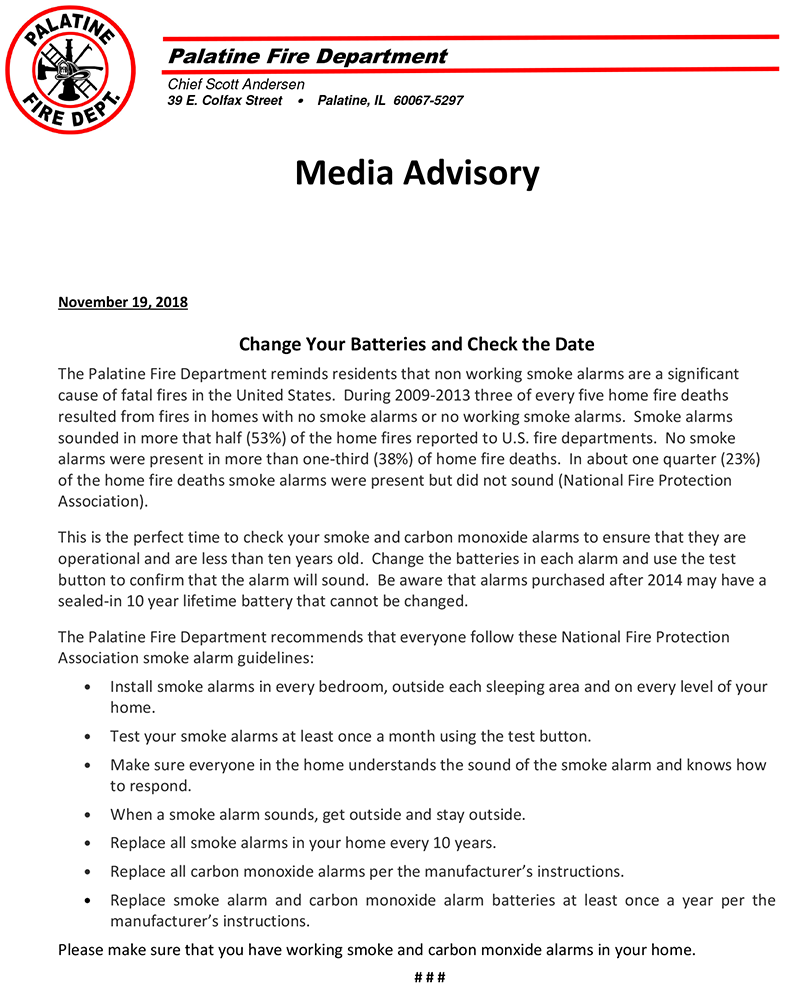 Palatine Fire Department Press Release